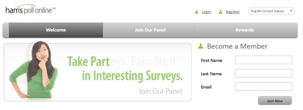 One of the easiest survey sites to use is Harris Poll!