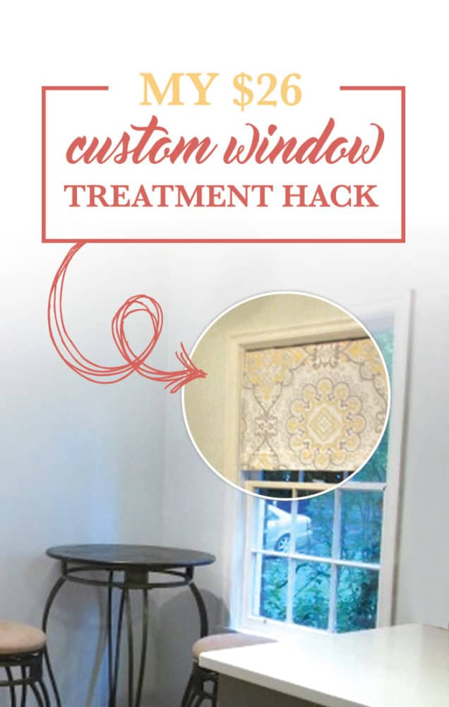 Custom fabric shades can cost anywhere between 3-500 dollars depending upon your window dimensions and upgrades. My ikea roller shade hack cost $26 to DIY! See how I did it.