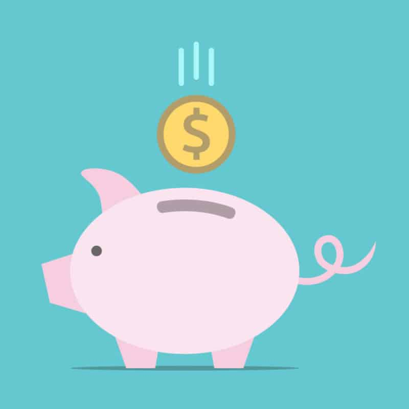 Piggy bank, dollar coin