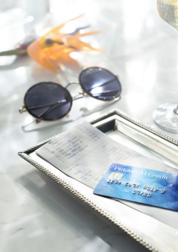 Closeup of credit card and bill payment