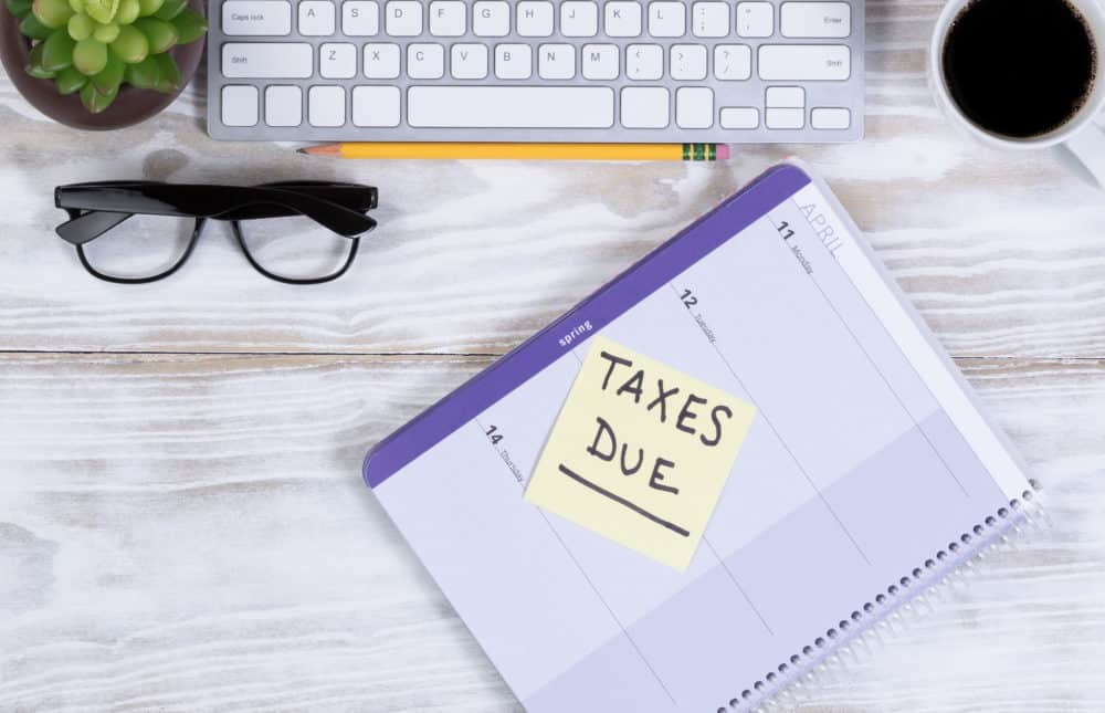 Tax season with supplies on wooden desktop