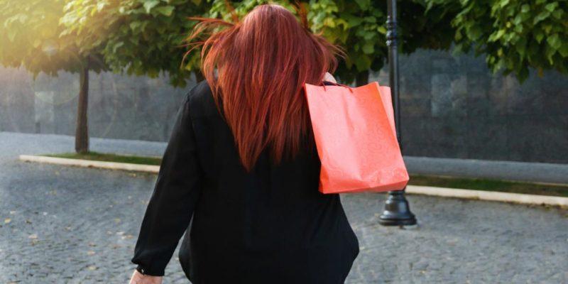 woman stops shopping